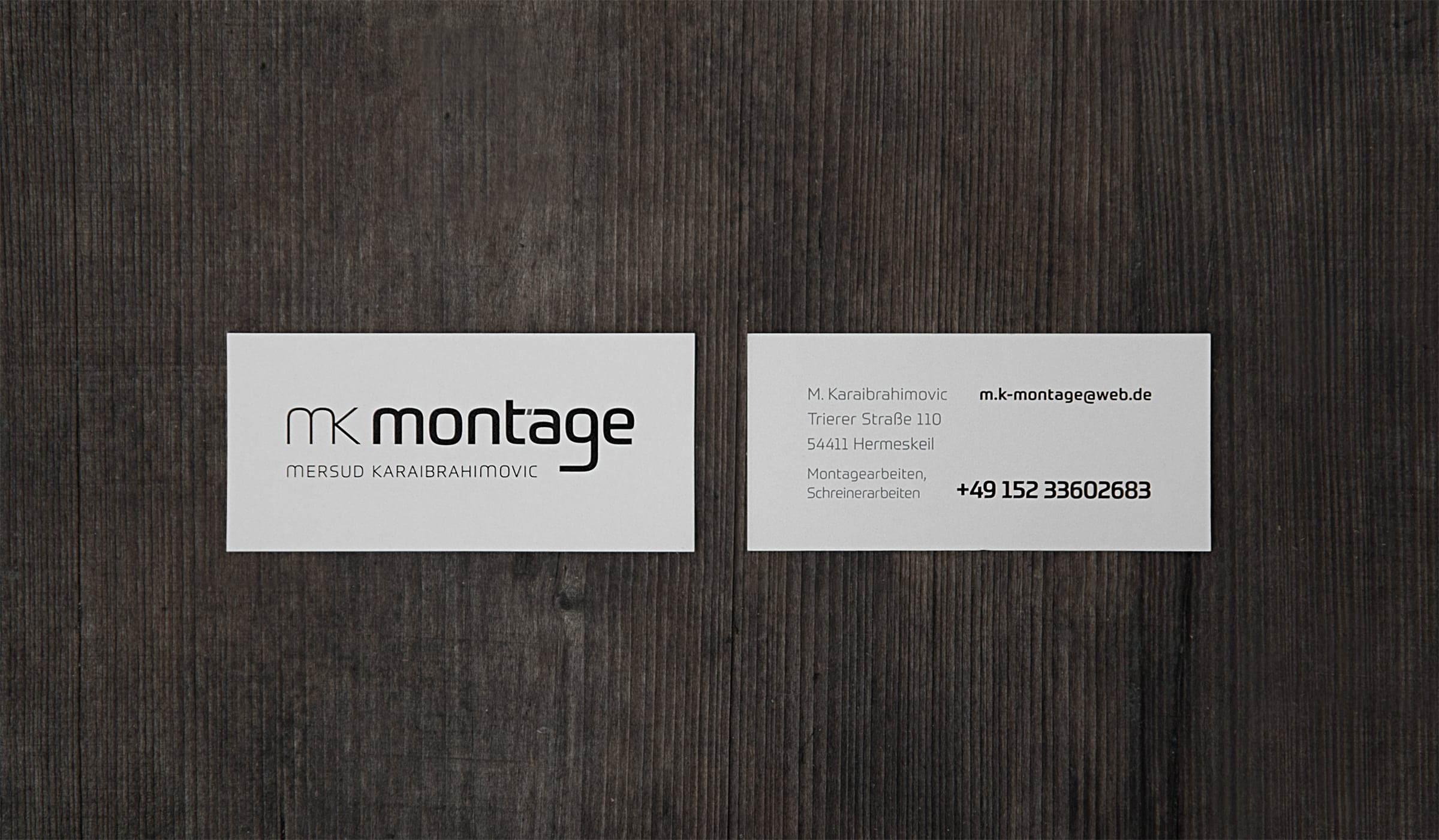 Konzeptarbeit ~ Corporate Design ~ Visitenkarten // mk montage