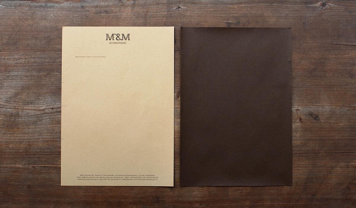 Konzeptarbeit ~ Corporate Design ~ Briefpapier // Briefpapier aus dunklem Naturpapier // M&M Schreinerei