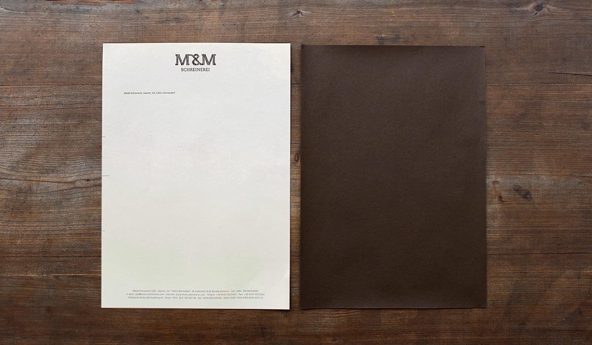 Konzeptarbeit ~ Corporate Design ~ Briefpapier // Briefpapier aus hellem Naturpapier // M&M Schreinerei