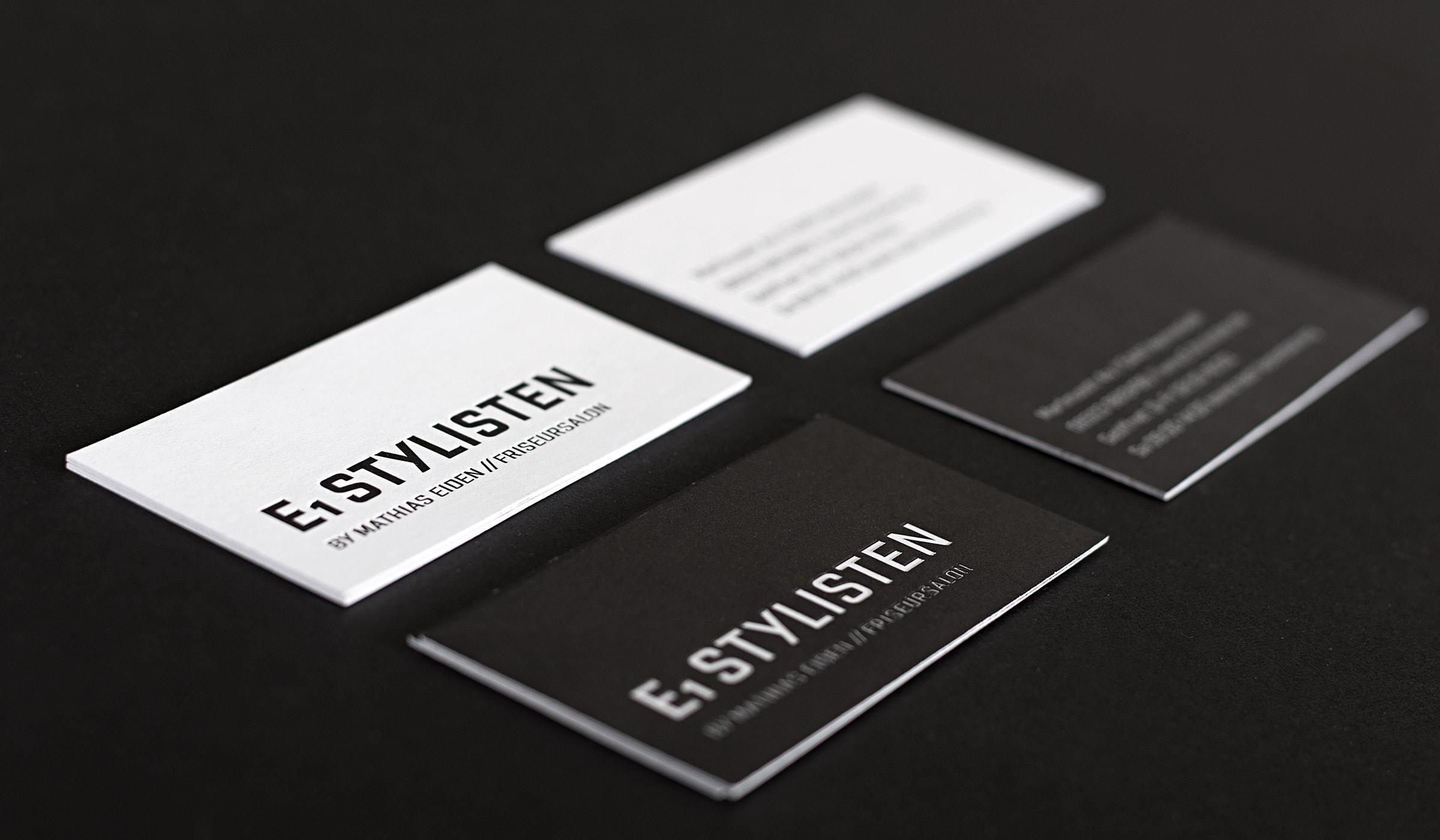 Konzeptarbeit ~ Corporate Design ~ Visitenkarten // Visitenkarten mit Heißfolienprägung // E1 Stylisten