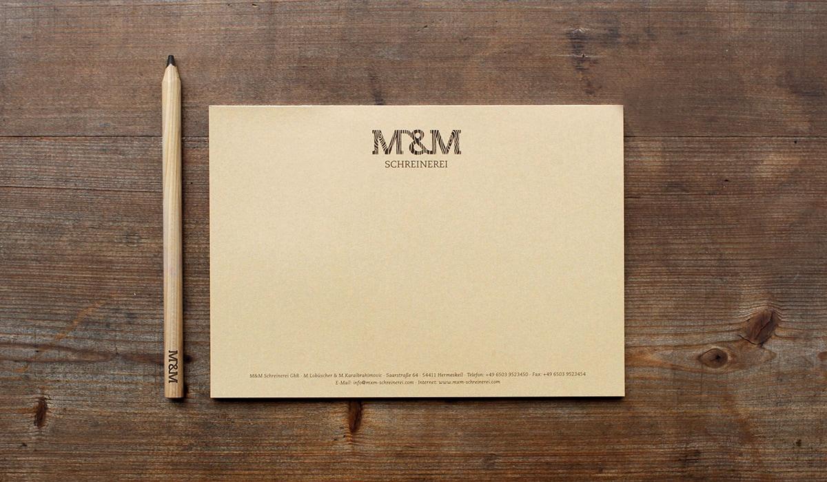 Konzeptarbeit ~ Corporate Design ~ Notizblock // Notizblock aus Naturpapier // M&M Schreinerei