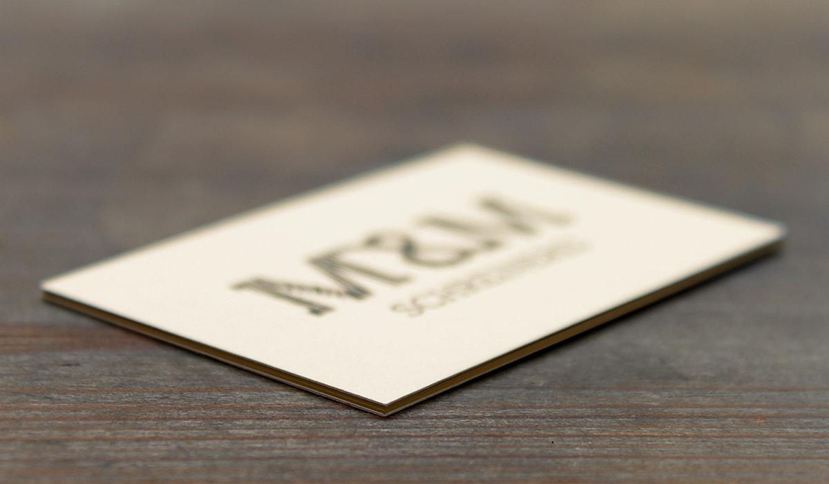 Konzeptarbeit ~ Corporate Design ~ Visitenkarte // Multilayer Visitenkarte aus hellem Naturpapier // M&M Schreinerei