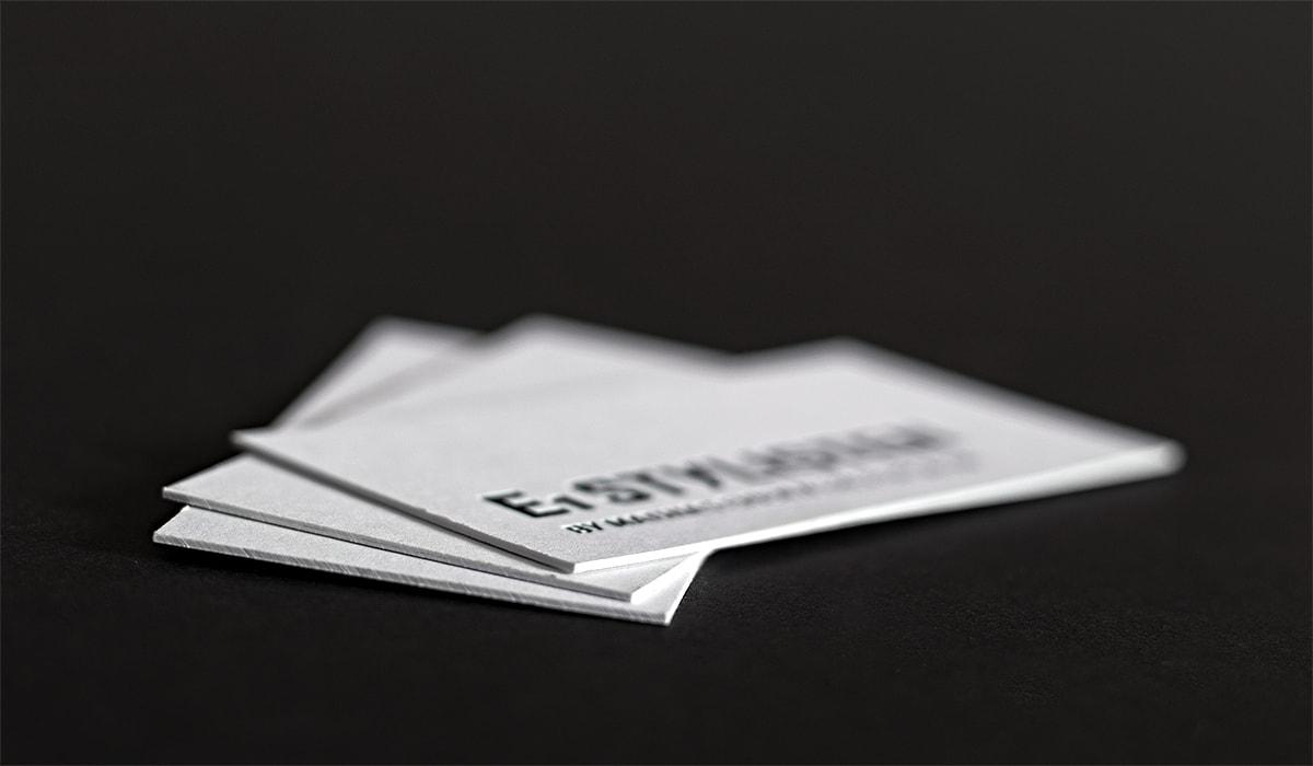 Konzeptarbeit ~ Corporate Design ~ Visitenkarten // Visitenkarten mit Heißfolienprägung 600g // E1 Stylisten