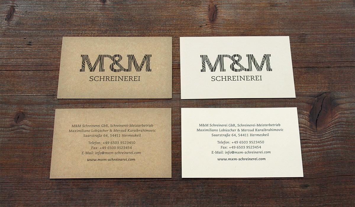 Konzeptarbeit ~ Corporate Design ~ Visitenkarten // Visitenkarten aus Naturpapier // M&M Schreinerei
