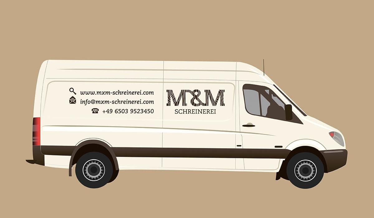 Konzeptarbeit ~ Corporate Design ~ Design Fahrzeugbeschriftung/ M&M Schreinerei Hermeskeil/ Branding/ Brand Design// KERSTIN MICHELS – DESIGN/ Designagentur/ Werbeagentur/ Grafikdesign/ Kommunikationsdesign/ Hochwald/ Trier/ Rheinland-Pfalz/ Werbung/ Design