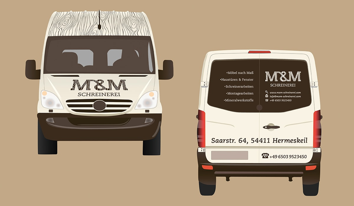 Konzeptarbeit ~ Corporate Design ~ Design Fahrzeugbeschriftung/ M&M Schreinerei Hermeskeil/ Branding/ Brand Design/ KERSTIN MICHELS – DESIGN/ Designagentur/ Werbeagentur/ Grafikdesign/ Kommunikationsdesign/ Hochwald/ Trier/ Rheinland-Pfalz/ Werbung/ Design