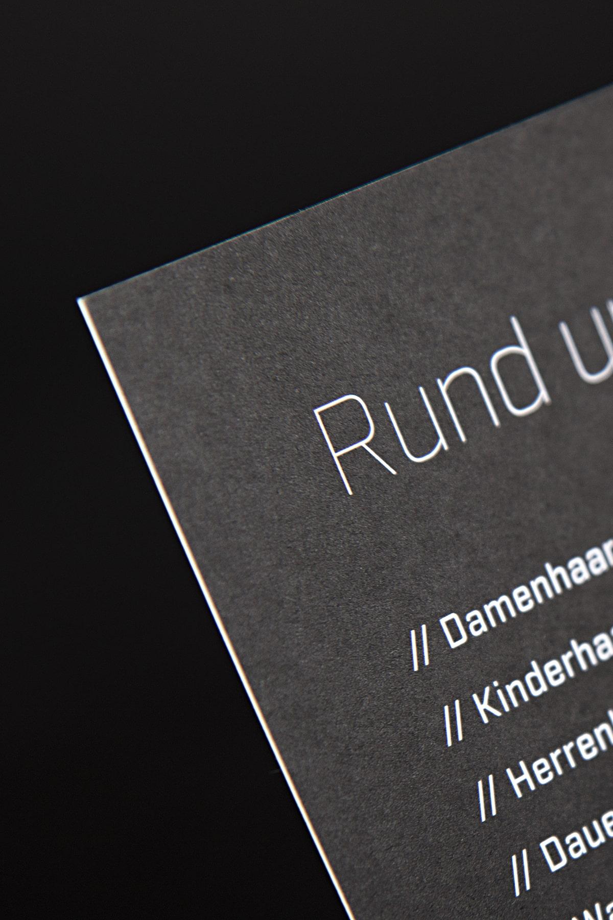 Konzeptarbeit ~ Corporate Design ~ Handzettel // Handzettel 300g // E1 Stylisten