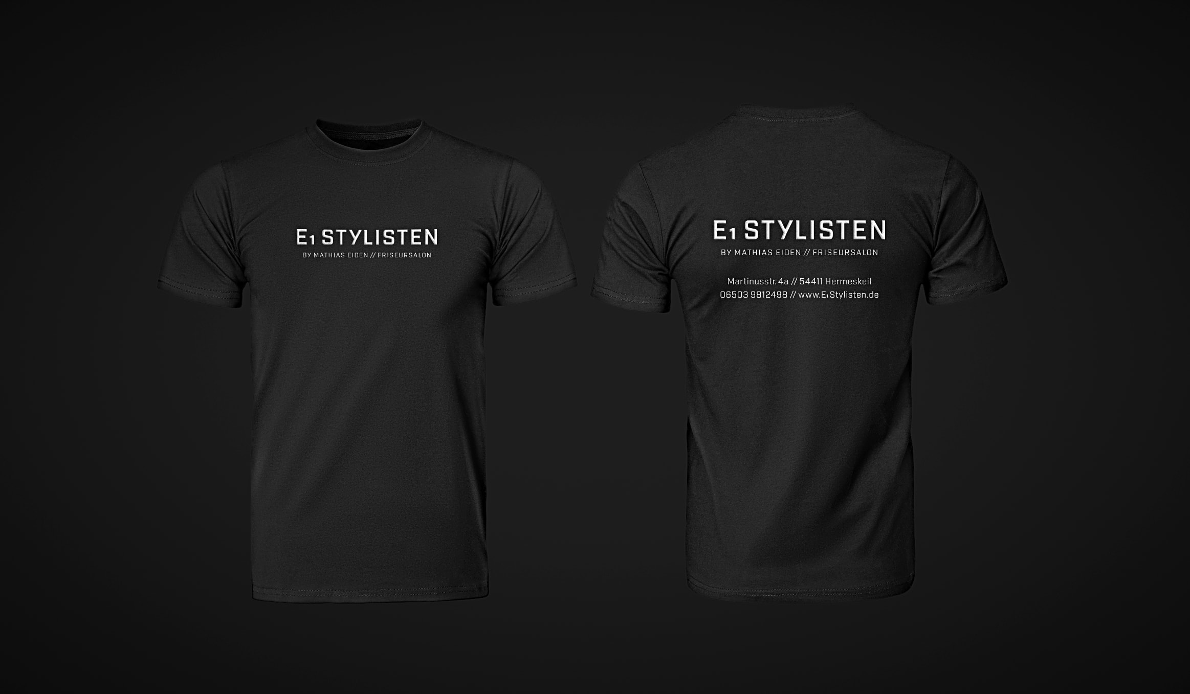 Brand Design // Konzeptarbeit ~ Corporate Design ~ T-Shirts // E1 StylistenHermeskeil/ KERSTIN MICHELS – DESIGN/ Designagentur/ Werbeagentur/Grafikdesign/ Kommunikationsdesign/ Hochwald/ Trier/ Rheinland-Pfalz/ Werbung/ Design