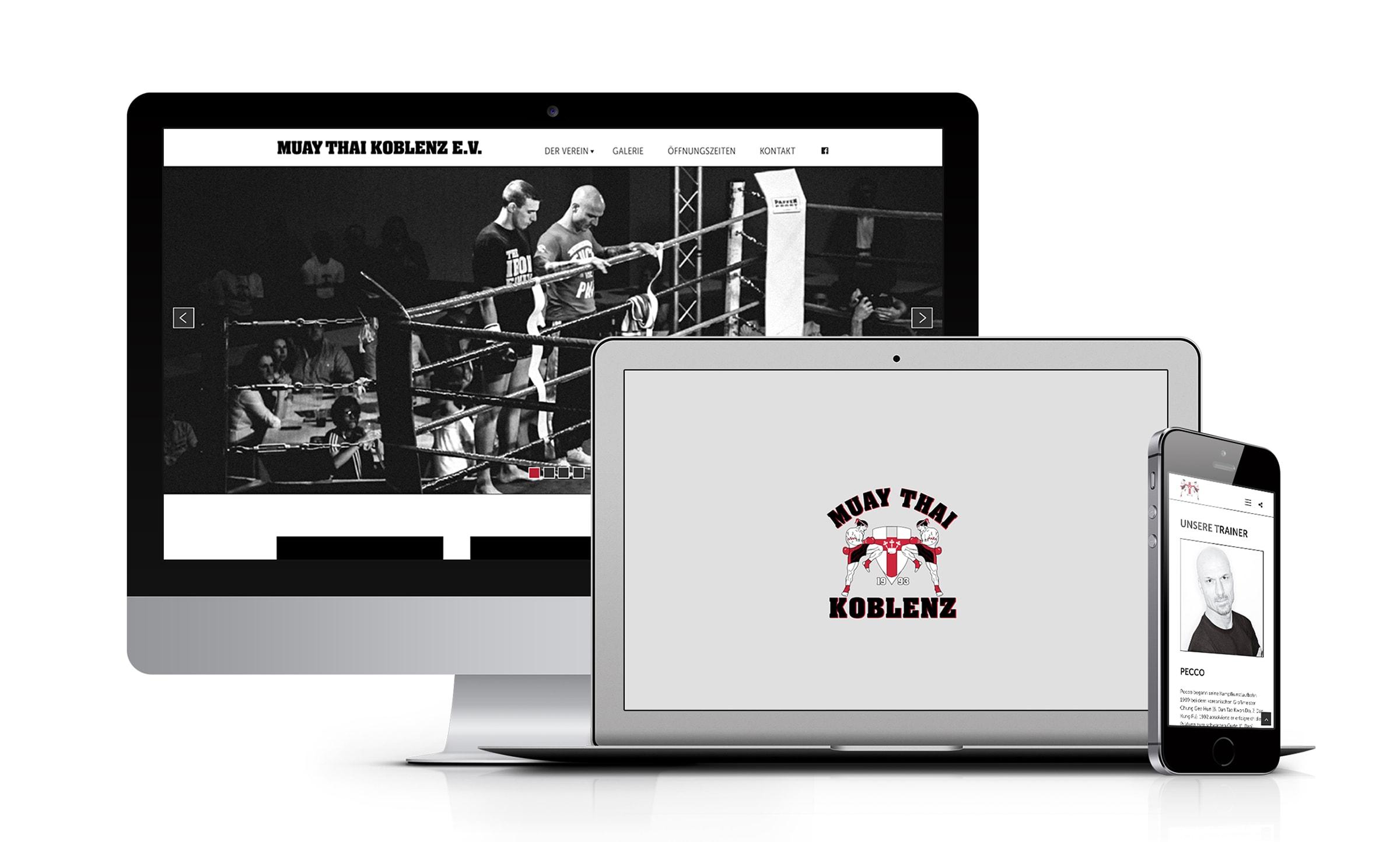Screendesign für Muay Thai Koblenz entwickelt durch die Designagentur mieker - Konzept Design Strategie. Die neue Webseite zeigt sich besonders benutzerfreundlich und zielgruppenorientiert. Redesign, Webdesign. Regionen: Koblenz, Trier, Hermeskeil