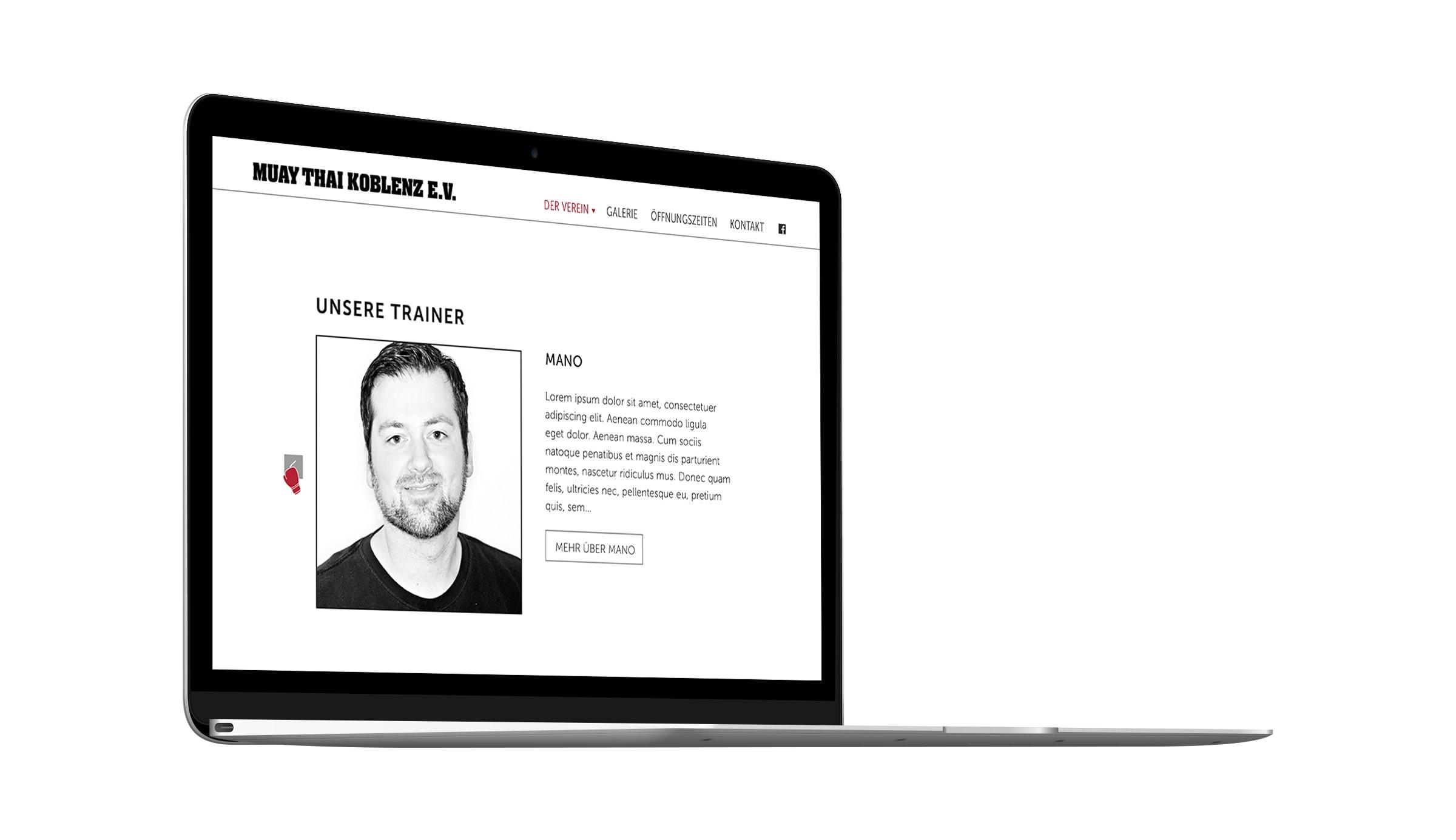 Webdesign für Muay Thai Koblenz entwickelt durch die Werbeagentur mieker - Konzept Design Strategie. Screendesign der Seite, welche die Trainer vorstellt. Die Webseite zeigt sich benutzerfreundlich und zielgruppenorientiert. Regionen: Koblenz, Trier, Hermeskeil