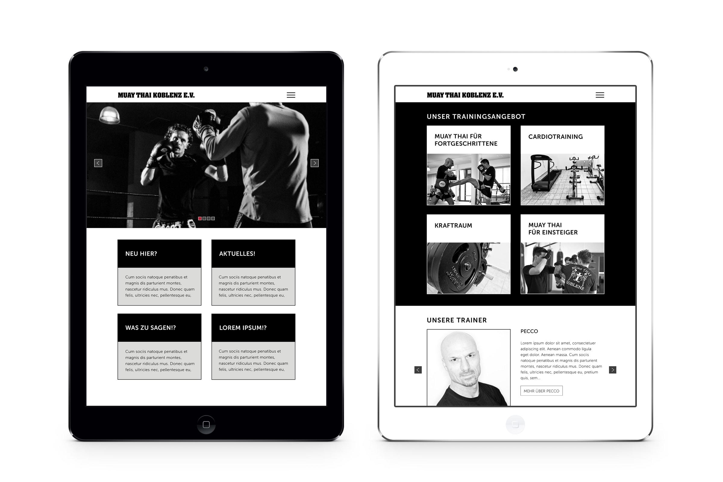 Webseite für einen Kampfsportverein aus Koblenz. Das Webdesign wurde durch die Designagentur mieker - Konzept Design Strategie entwickelt. Das Screendesign folgt der Identität des Vereines. Regionen: Koblenz, Trier, Hermeskeil