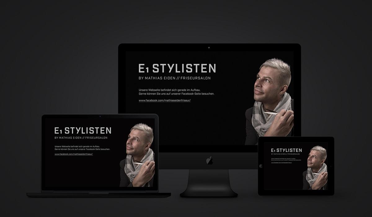 Konzeptarbeit ~ Corporate Design ~ Webpräsenz // vorübergehende Webpräsenz // E1 Stylisten