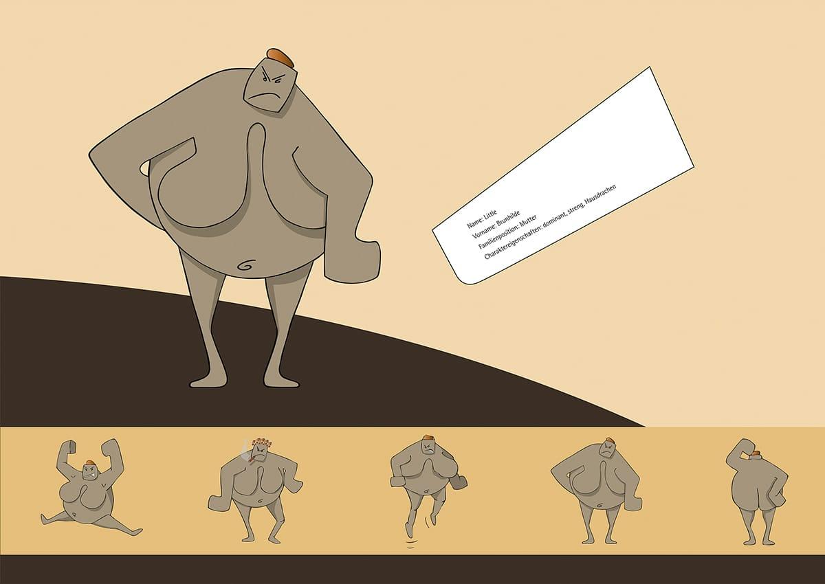 Charakterdesign und Packaging Design The Littles, ein Eigenprojekt der Werbeagentur mieker - Konzept Design Strategie. Plakat Mutter Brunhilde