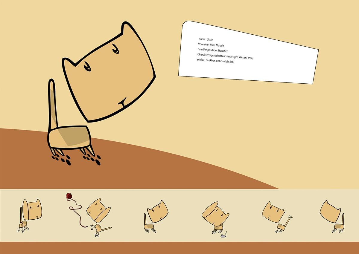 Charakterdesign und Packaging Design The Littles, ein Eigenprojekt der Designagentur mieker - Konzept Design Strategie. Plakat Haustier Miss Marple