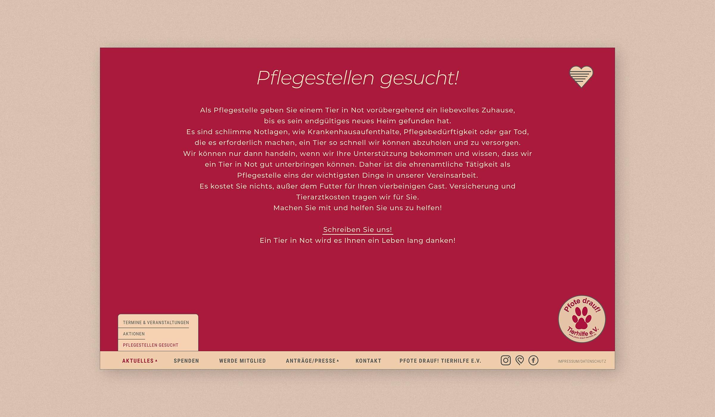 Homepage für Tierhilfe e.V. Trier und Region. Das Webkonzept und Webdesign wurde entwickelt durch die Designagentur und Werbeagentur mieker - Konzept Design Strategie. Leistungen der Designagentur: Webkonzept, Webdesign/Screendesign, Werbefotografie, Fotos, responsive Website. Screen rote Unterseite. Regionen: Hermeskeil, Trier und Region.