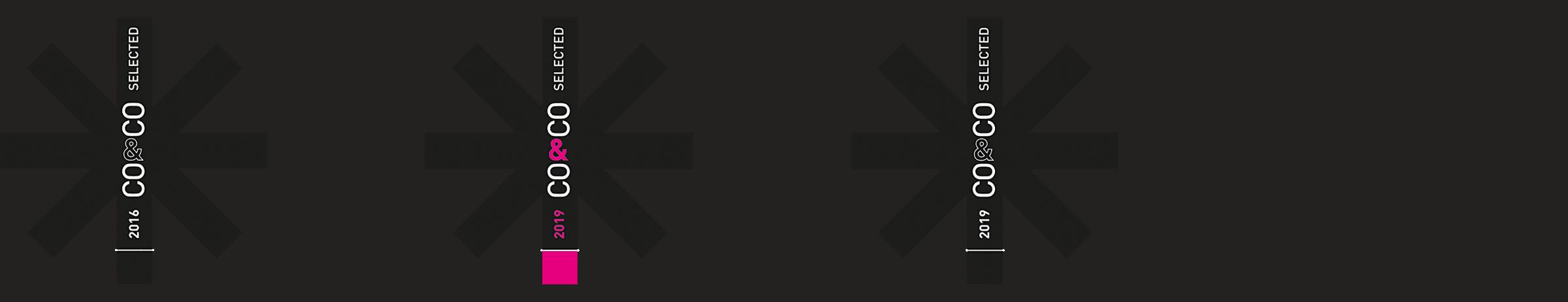 Leistungen der Designagentur und Werbeagentur mieker: Corporate Design Auszeichnungen: Co and Co Selected black 2019, Co and Co Selected magenta 2019, Co and Co Selected black 2016