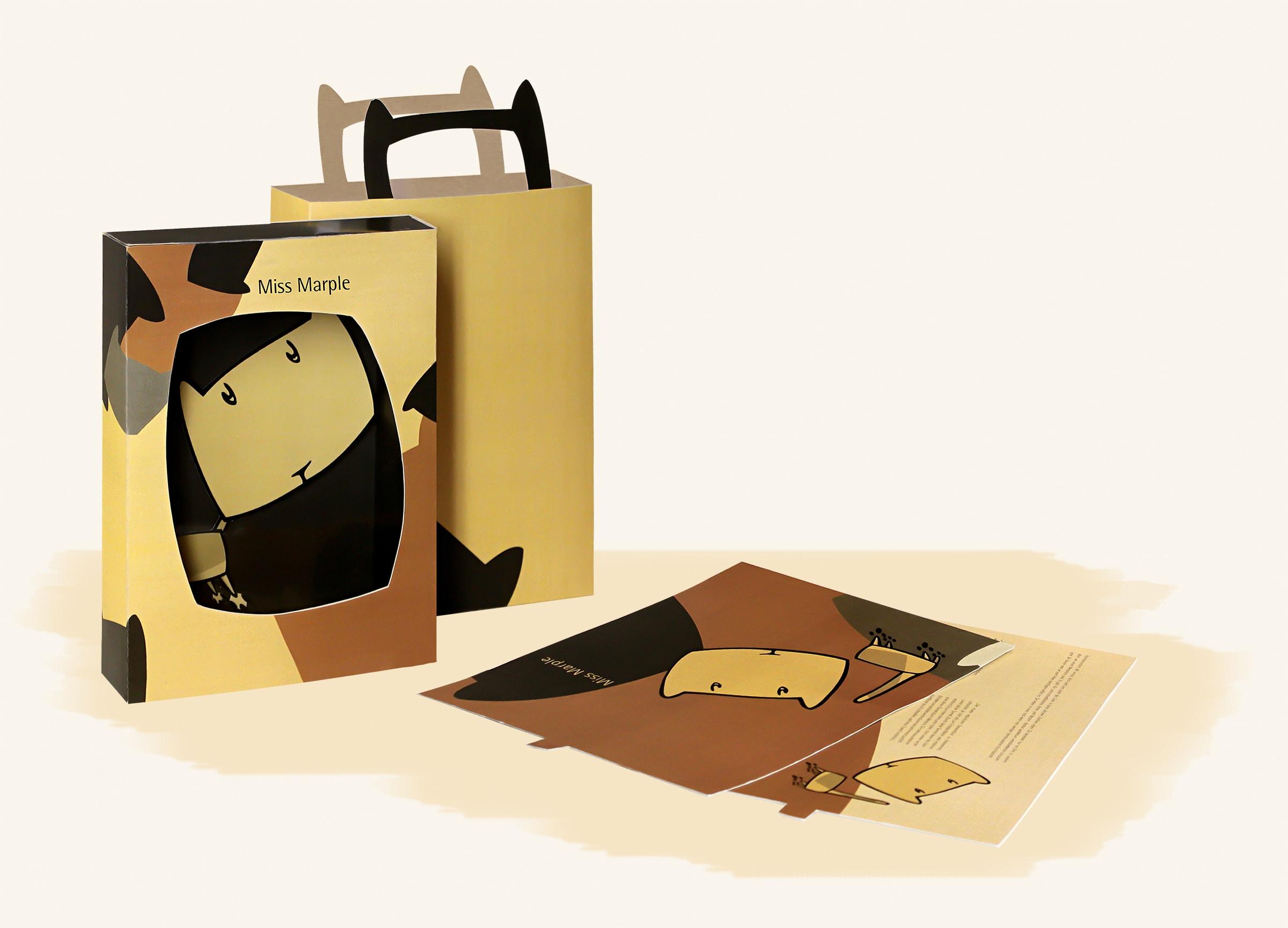 Packaging Design für The Littles, ein Eigenprojekt der Designagentur mieker - Konzept Design Strategie. Verpackungsdesign für Miss Marple. Verpackungen, Beschreibungskarten, Werbetaschen