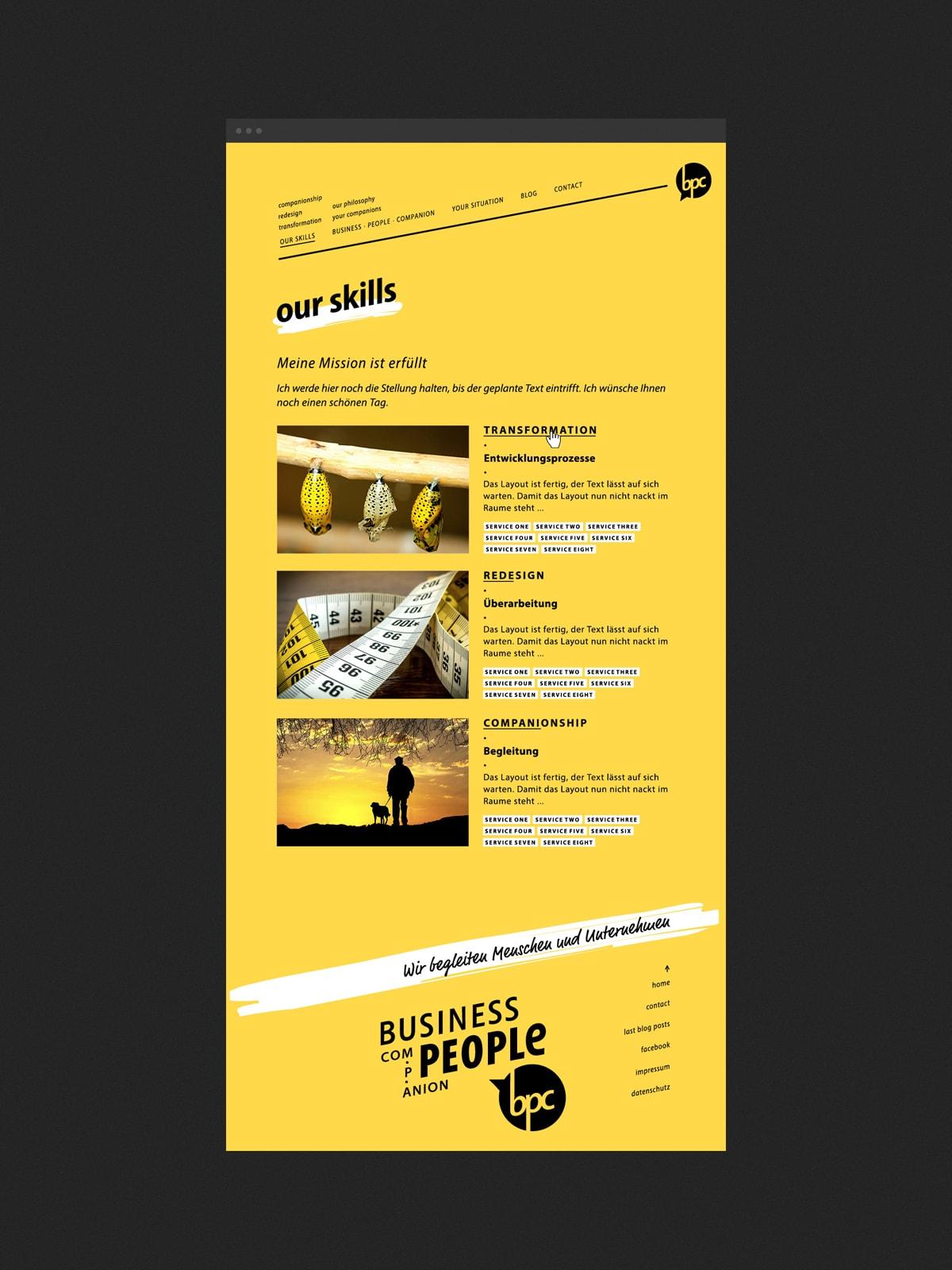 Screendesign/ Webdesign für eine Unternehmensberatung in der Region Trier/ Luxembourg. Als Beispiel eine gelbe Hauptseite der Corporate Website. Eine Konzeption der Werbeagentur mieker - Konzept Design Strategie. Designleistungen: Kommunikationskonzept, Corporate Identity Design, Screendesign, Webdesign, UX Design, Logodesign und online Werbung.