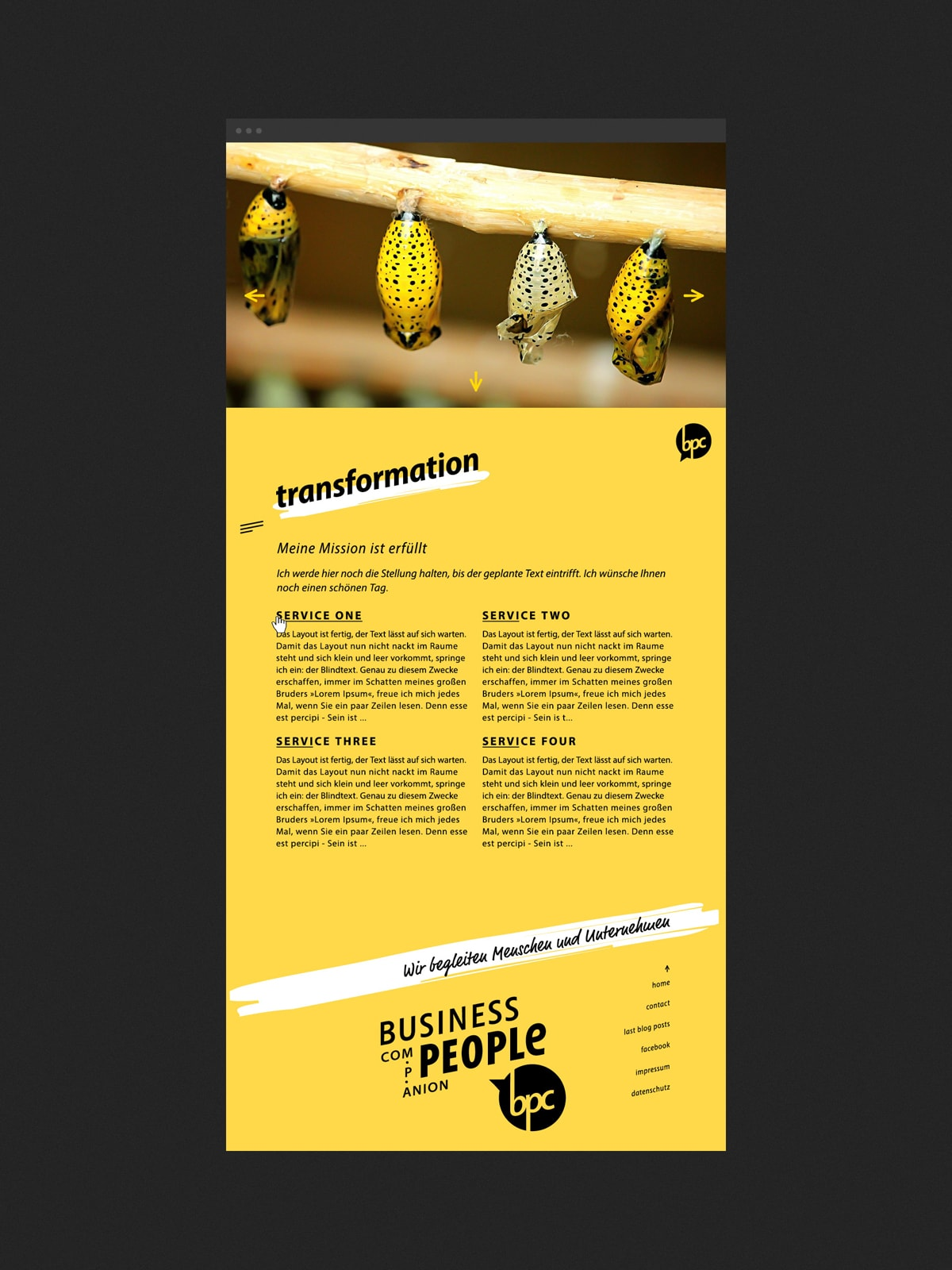 Screendesign/ Webdesign für eine Unternehmensberatung mit Sitz in Trier. Ein Webkonzept der Werbeagentur mieker - Konzept Design Strategie. Als Beispiel eine gelbe Unterseite der Corporate Website. Leistungen: Kommunikationskonzept, Corporate Identity, Corporate Design, Screendesign, Webdesign, UX Design, Logodesign, Printdesign und online Werbung.